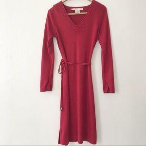 Max Studio Red Dress with Tie Waist Detail Medium
